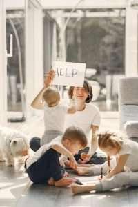Money stressed mom with children
